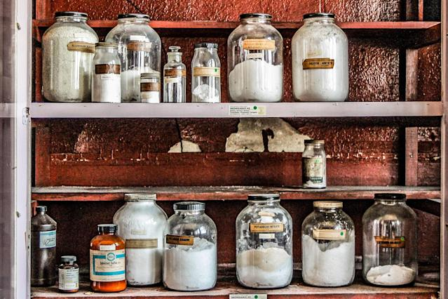 <p>Chemicals for biology classes. (Photo: Leland Kent/Caters News) </p>