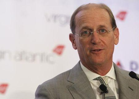 Delta CEO Anderson speaks during a news conference to announce a sale, in New York