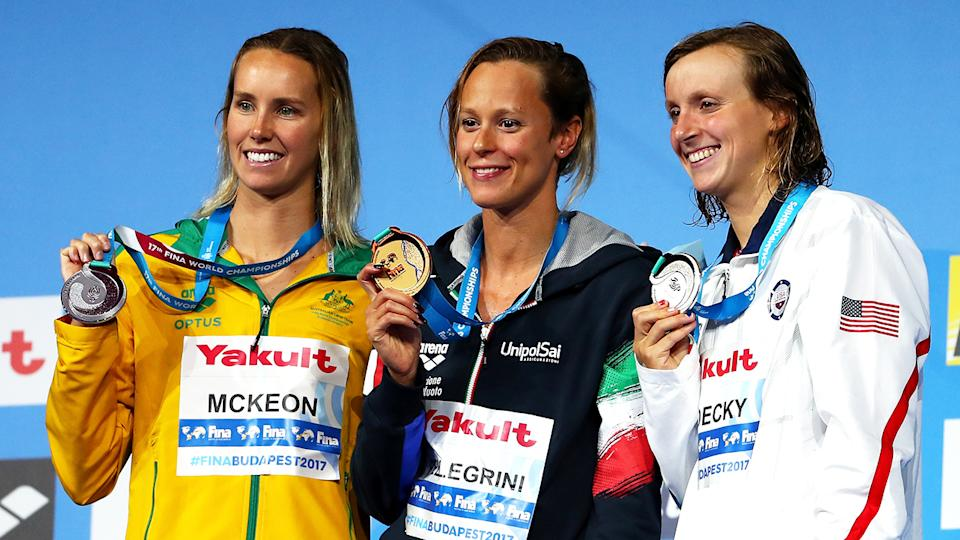 Emma McKeon, Federica Pellegrini and Katie Ledecky, pictured here at the 2017 FINA World Championships.