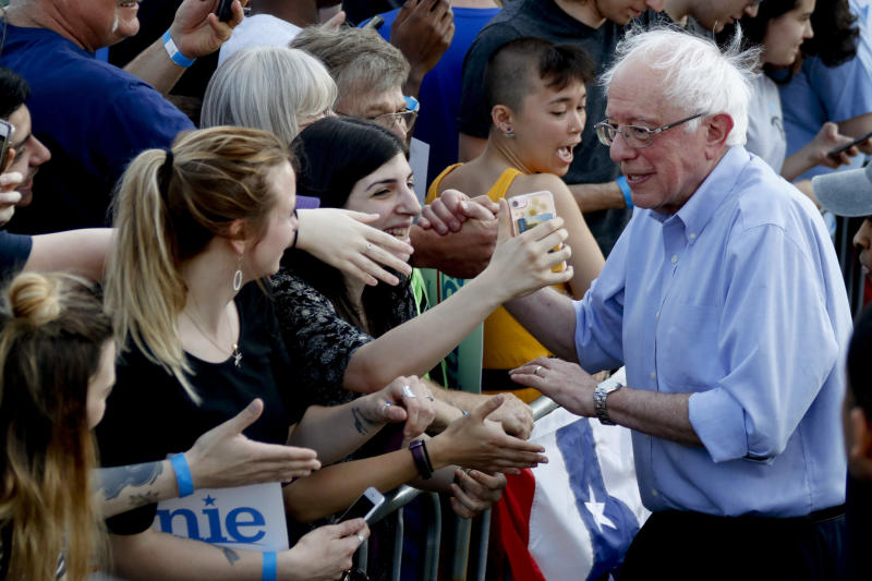 Sen. Bernie Sanders (I-Vt.) in Pittsburgh on Sunday. Releasing his tax returns allows Sanders to attack Donald Trump on his transparency without fear of being labeled a hypocrite. (Keith Srakocic/ASSOCIATED PRESS)