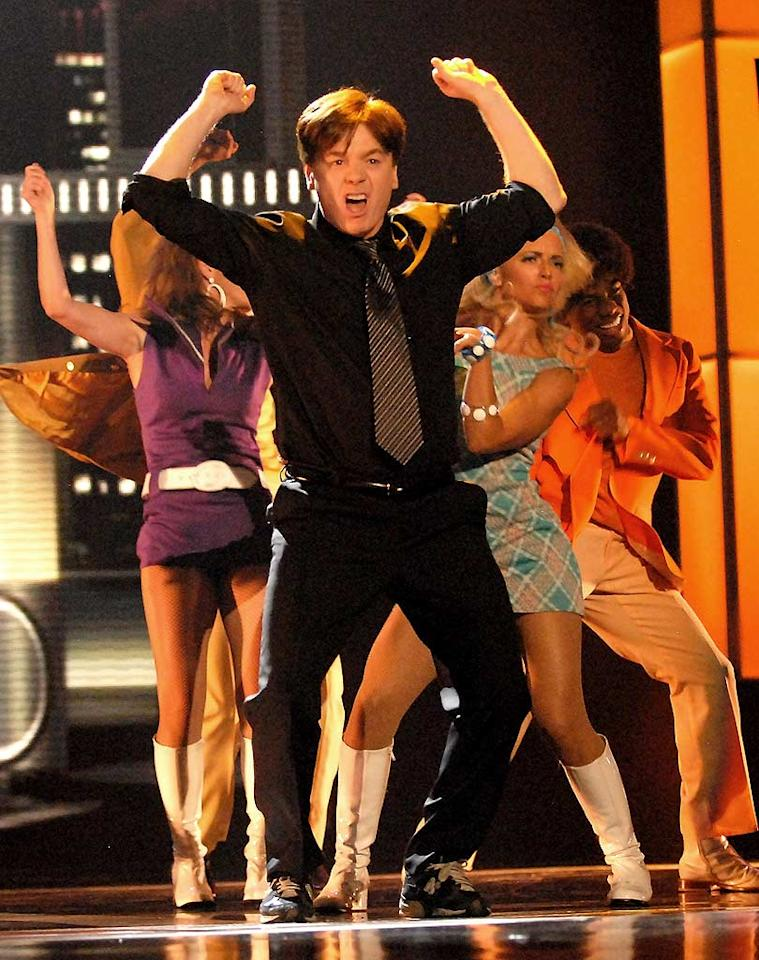 "Mike Myers accepts his MTV Generation Award with an unforgettable performance. Kevin Mazur/<a href=""http://www.wireimage.com"" target=""new"">WireImage.com</a> - June 3, 2007"