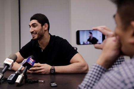 Turkish NBA player Kanter speaks about the revocation of his Turkish passport and return to the United States at National Basketball Players Association headquarters in New York