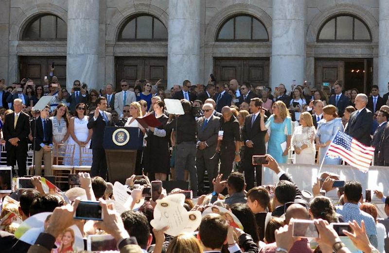 Gov. Ricardo Rossello is sworn in at the seaside Capitol in San Juan, Puerto Rico, Monday, Jan. 2, 2017. The U.S. territory is preparing for what many believe will be new austerity measures and a renewed push for statehood to haul the island out of a deep economic crisis. (AP Photo/Danica Coto)