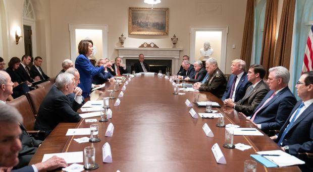 Nancy Pelosi confronts Donald Trump at White House, Oct. 16, 2019.