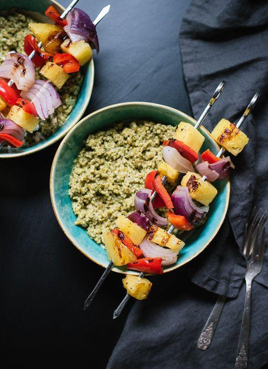 "<strong>Get the <a href=""http://cookieandkate.com/2015/freekeh-with-basil-cilantro-pesto-and-grilled-pineapple-skewers/"" target=""_blank"">Grilled Pineapple Skewers recipe</a> from Cookie + Kate</strong>"