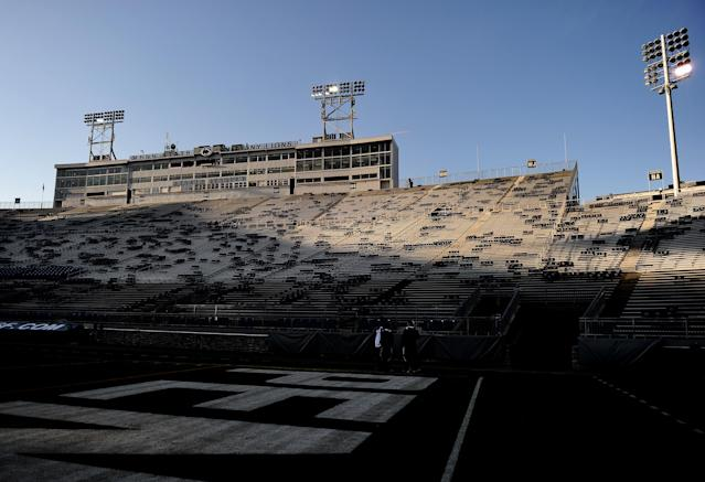STATE COLLEGE, PA - NOVEMBER 12: Beaver Stadium is empty before Penn State takes on Nebraska on November 12, 2011 in State College, Pennsylvania. Head football coach Joe Paterno was fired amid allegations that former Penn State defensive coordinator Jerry Sandusky was involved with child sex abuse. Penn State is playing their final home football game against Nebraska. (Photo by Patrick Smith/Getty Images)