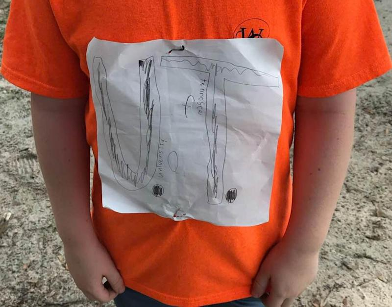 A Florida high school boy was teased for his homemade University of Tennessee T-shirt on College Colours Day. Source: Facebook / Laura Snyder