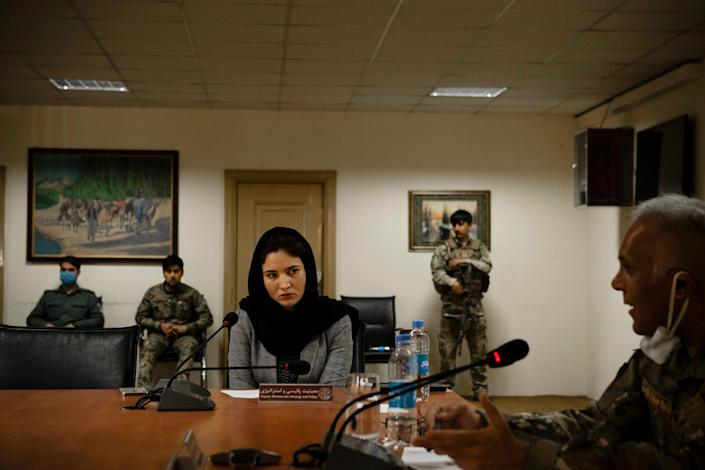 Hosna Jalil, then deputy minister of the interior, at a government meeting where only one other woman, Kabul's deputy governor, was present, in Kabul on June 20, 2020.