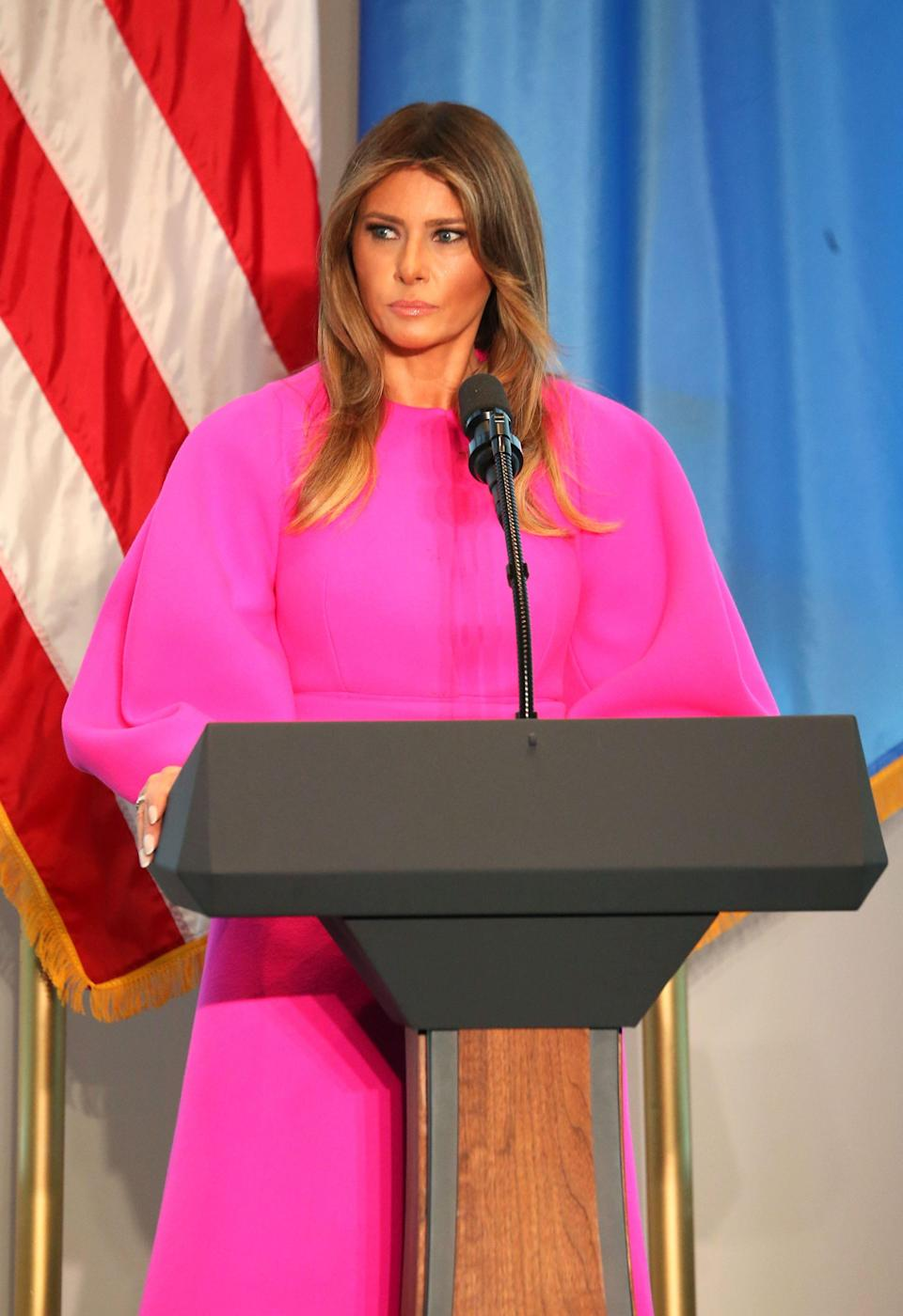 Melania wearing a £2,220fuchsia dress from Delpozo while speaking at theUnited Nations in September 2017. [Photo: Rex]