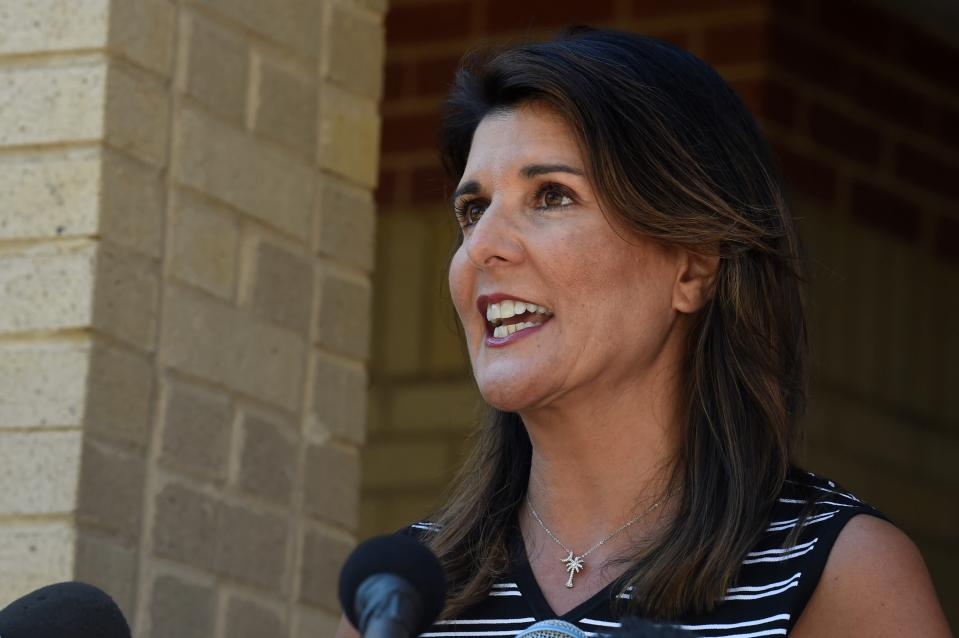 Former South Carolina Gov. Nikki Haley speaks with reporters after a tour of the campus of South Carolina State University on Monday, April 12, 2021, in Orangeburg, S.C. Haley, often mentioned as a possible 2024 GOP presidential contender, said Monday that she would not seek her party's nomination if former President Donald Trump opts to run a second time. (AP Photo/Meg Kinnard)