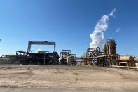 FILE PHOTO: Geothermal powerplant owned by EnergySource LLC atop the San Andreas Fault