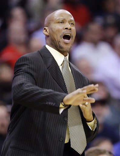 Cleveland Cavaliers head coach Byron Scott reacts against the New York Knicks during the second quarter of an NBA basketball game, Wednesday, Jan. 25, 2012, in Cleveland. The Cavaliers won 91-81. (AP Photo/Tony Dejak)