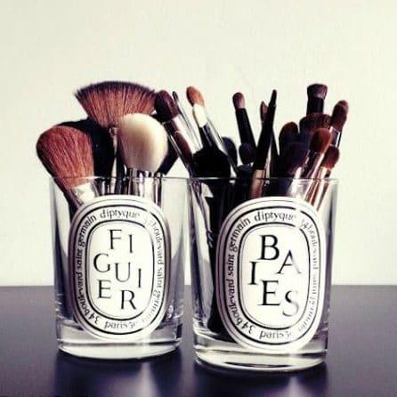 Re-use candle jars for make-up brushes - Credit: Pinterest/thestylecavalry.com/Pinterest/thestylecavalry.com