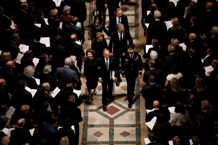 Members of the Bush family including former President George W. Bush, former first lady Laura Bush, for Florida Governor Jeb Bush and his wife Columba, as well as their brother Neil Bush and his wife Maria depart at the conclusion of the state funeral for former President George H.W. Bush in the Washington National Cathedral in Washington, D.C., Dec. 5, 2018. (Photo: Kevin Lamarque/Reuters)