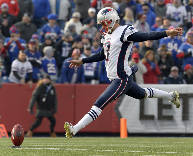 New England Patriots kicker Stephen Gostkowski (3) winds up for a kickoff last season. (AP)