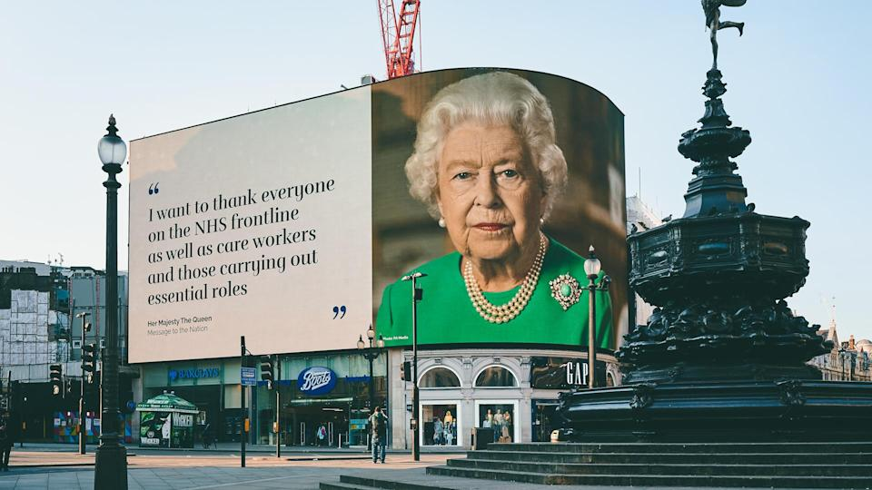 LONDON, UK - April 11th 2020: Queen Elizabeth II of England, Thank you NHS, COVID-19 corona virus pandemic, Stay Home, Save Lives, screen sign information panel message, Piccadilly circus, London.