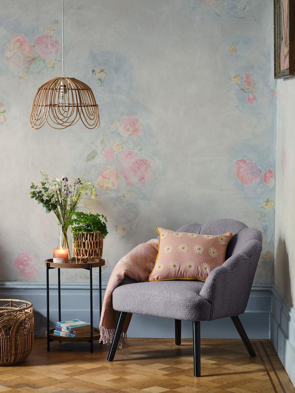 """<p>With a calming colour palette (think pinks, soft greys and lilacs), the English Weekend trend has gorgeous accessories such as floral scatter cushions (£7), weave <a href=""""https://www.housebeautiful.com/uk/lifestyle/storage/g31213380/storage-baskets/"""" rel=""""nofollow noopener"""" target=""""_blank"""" data-ylk=""""slk:baskets"""" class=""""link rapid-noclick-resp"""">baskets</a> (£30) and scalloped bamboo light shades (£30). Make sure not to miss out...</p><p><a class=""""link rapid-noclick-resp"""" href=""""https://direct.asda.com/george/home/D26,default,sc.html"""" rel=""""nofollow noopener"""" target=""""_blank"""" data-ylk=""""slk:SHOP NOW"""">SHOP NOW</a></p>"""