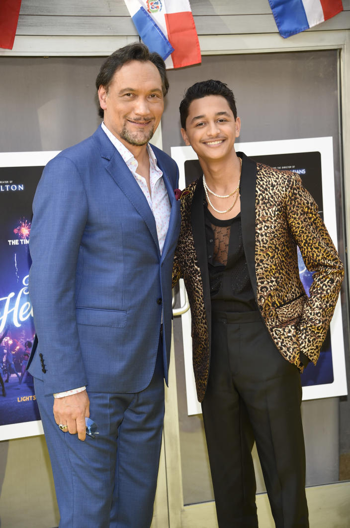 """Actors Jimmy Smits, left, and Gregory Diaz IV attend the 2021 Tribeca Film Festival opening night premiere of """"In The Heights"""" at the United Palace theater on Wednesday, June 9, 2021, in New York. (Photo by Evan Agostini/Invision/AP)"""