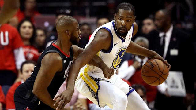 Durant tallied 37 points to lead Golden State to a 119-106 win Monday night.