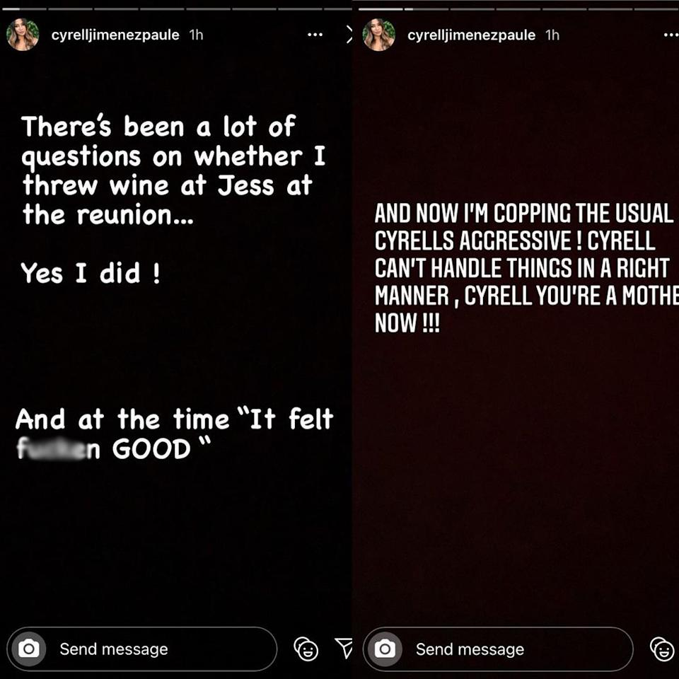 "Cyrelle said it felt ""f****n"" good to throw her wine at Jessika Power during the MAFS reunion special filmed in December 2020. Photo: Instagram/cyrelljimenezpaule."
