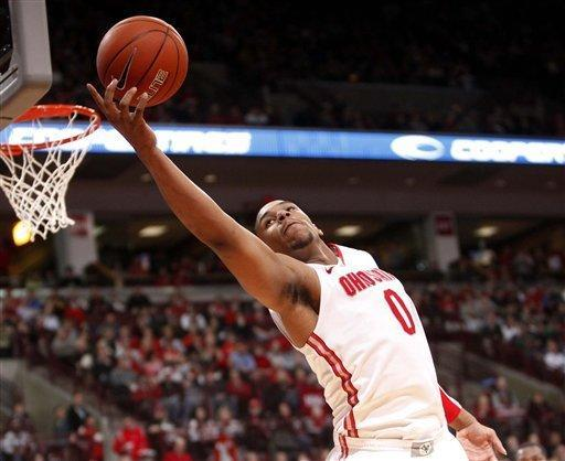 Ohio State's Jared Sullinger (0) grabs a rebound during the second half of an NCAA college basketball game against Northwestern, Wednesday, Dec. 28, 2011, in Columbus, Ohio. Ohio State won 87-54. (AP Photo/Terry Gilliam)
