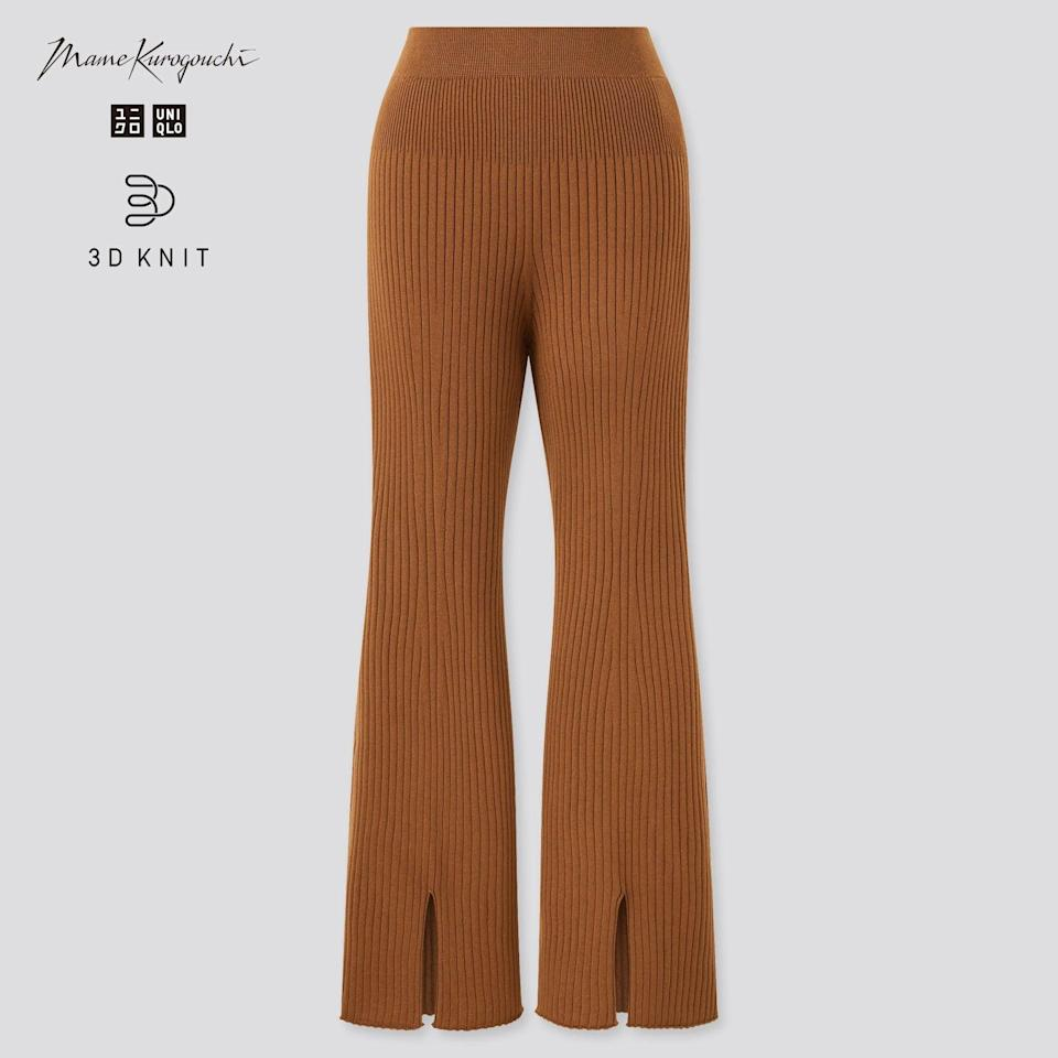 """<h2>Uniqlo 3D Knit</h2><br>Sometimes, you just want to wear a knit that is unabashedly textured and chunky. Luckily, Uniqlo's line of all-cotton 3D Knits can create the voluminous silhouettes you crave.<br><br><em>Shop </em><a href=""""https://www.uniqlo.com/us/en/search?q=3d+knit&search-button=&lang=default"""" rel=""""nofollow noopener"""" target=""""_blank"""" data-ylk=""""slk:Uniqlo 3D Knit"""" class=""""link rapid-noclick-resp""""><em>Uniqlo 3D Knit</em></a><br><br><strong>Uniqlo x Mame Kurogouchi</strong> 3D KNIT RIBBED FRONT SLIT LONG TROUSERS, $, available at <a href=""""https://go.skimresources.com/?id=30283X879131&url=https%3A%2F%2Fwww.uniqlo.com%2Fuk%2Fen%2Fproduct%2Fwomen-mame-kurogouchi-3d-knit-seamless-ribbed-long-trousers-442043.html%3F"""" rel=""""nofollow noopener"""" target=""""_blank"""" data-ylk=""""slk:Uniqlo"""" class=""""link rapid-noclick-resp"""">Uniqlo</a>"""