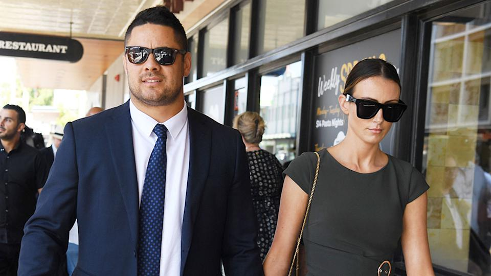 Seen here, Jarryd Hayne and his partner leave court after the former NRL player's rape trial.