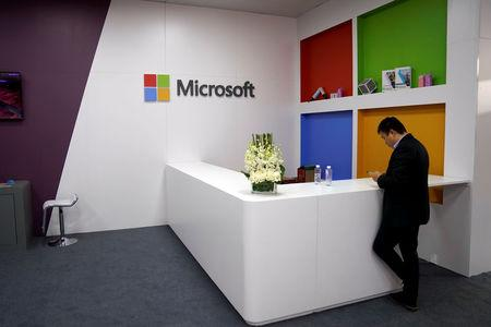 A Microsoft sign is seen during the China International Import Expo (CIIE), at the National Exhibition and Convention Center in Shanghai