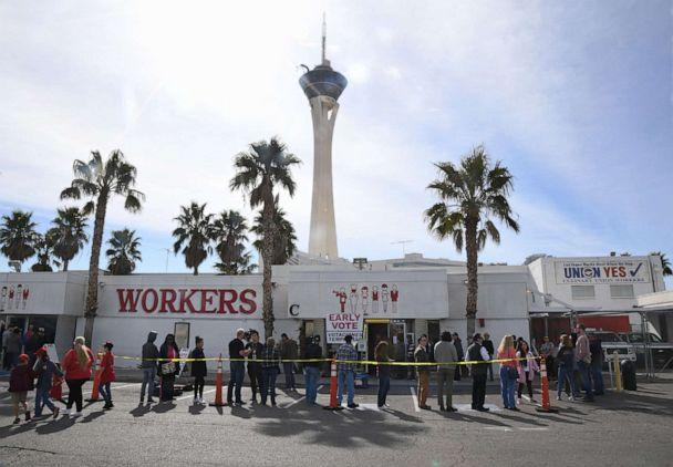 PHOTO: Voters line up outside the Culinary Workers Union Hall Local 226 on the first day of early voting for the upcoming Nevada Democratic presidential caucus, Feb. 15, 2020, in Las Vegas. (Ethan Miller/Getty Images)