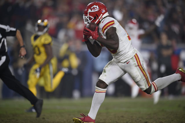 Kansas City Chiefs wide receiver Tyreek Hill hauls in a touchdown catch against the Los Angeles Rams. (AP)