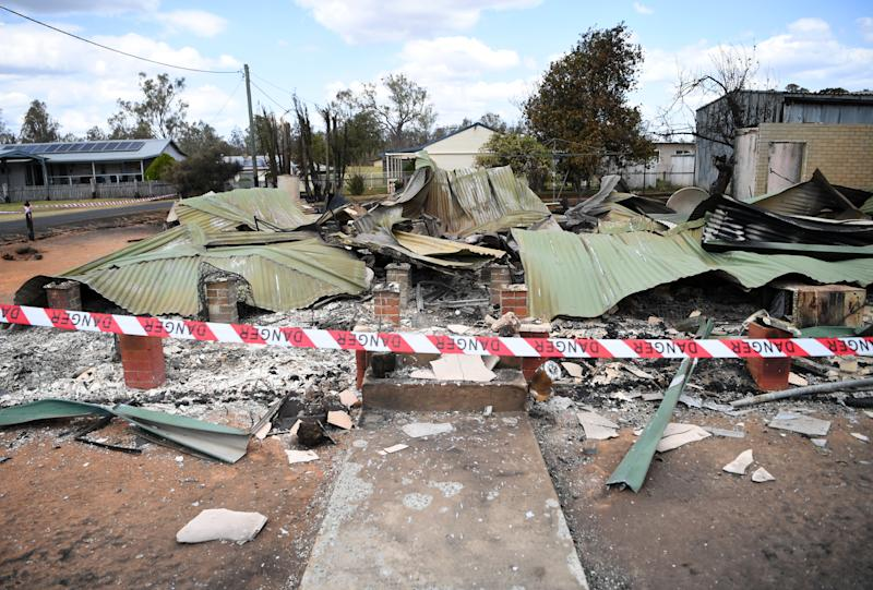 A house destroyed by bushfire is seen in Rappville, NSW.