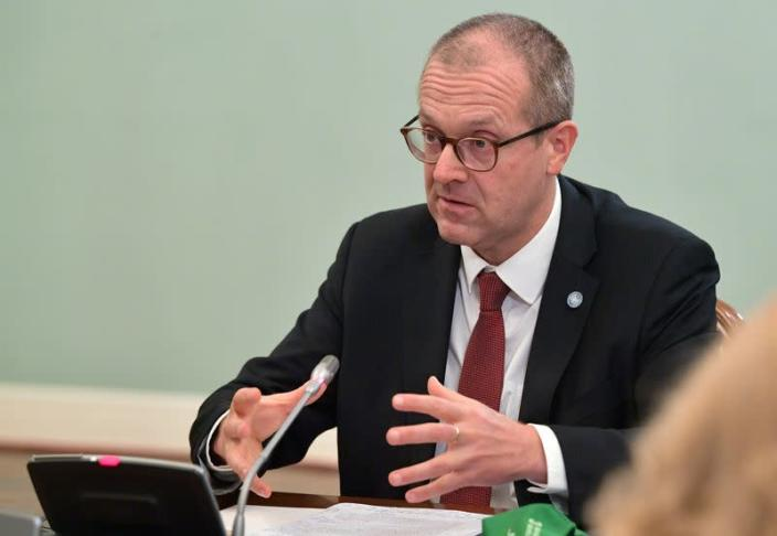 FILE PHOTO: Hans Kluge, World Health Organization regional director for Europe, attends a meeting with Russian Prime Minister Mikhail Mishustin in Moscow