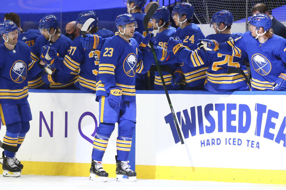 Buffalo Sabres forward Sam Reinhart (23) celebrates his goal during the second period of an NHL hockey game against the Pittsburgh Penguins, Sunday, April 18, 2021, in Buffalo, N.Y. (AP Photo/Jeffrey T. Barnes)