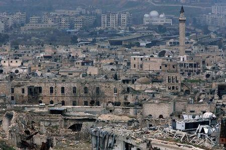 A view shows the damage in the Old City of Aleppo as seen from the city's ancient citadel