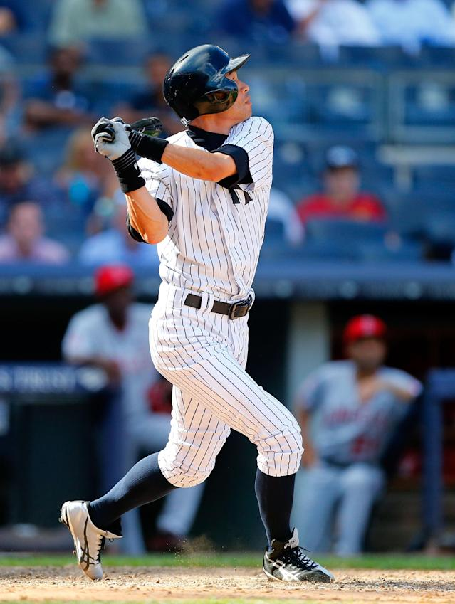 NEW YORK, NY - AUGUST 15: Pinch hitter Ichiro Suzuki #31 of the New York Yankees pops out in the ninth inning against the Los Angeles Angels of Anaheim at Yankee Stadium on August 15, 2013 in the Bronx borough of New York City. (Photo by Jim McIsaac/Getty Images)