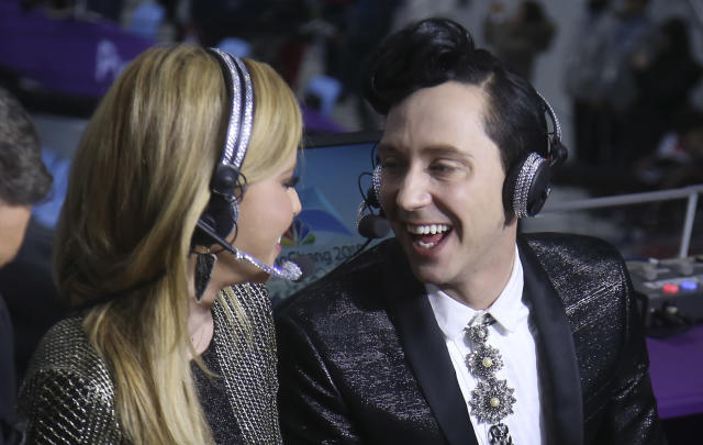 <p>Tara Lipinski and Johnny Weir comment for NBC Sports at the Figure Skating Team Event during the 2018 Winter Olympic Games on Feb. 11, 2018, in Gangneung, Pyeongchang, South Korea. (Photo by Jean Catuffe/Getty Images) </p>