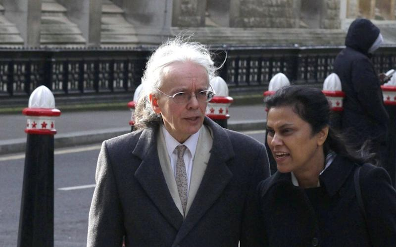 Timothy Heath, 62, outside London's High Court. Mr Heath, who never moved out of his parents' home, is fighting his two doctor brothers Dominic and Jeremy over their dead mum's £1.8m fortune. - Copyright property of Champion News Service Ltd