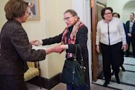 <p>Supreme Court Justices Ruth Bader Ginsburg and Sonia Sotomayor visit Pelosi in 2015</p>