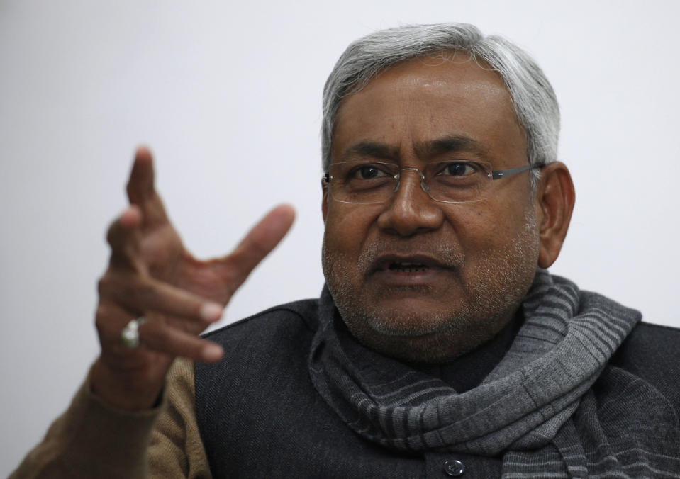 """Bihar's chief minister and leader of Janata Dal United party Nitish Kumar gestures during an interview with Reuters in the eastern Indian city of Patna January 8, 2012. When India launched reforms to open up its state-stifled economy 20 years ago, many states surged ahead, leaving behind the 3.5 percent """"Hindu rate of growth"""" that had plagued the decades after the country's independence from Britain in 1947, and with it Bihar. Picture taken January 8, 2012.      To match Insight INDIA-BIHAR/       REUTERS/Adnan Abidi (INDIA - Tags: POLITICS BUSINESS HEADSHOT)"""