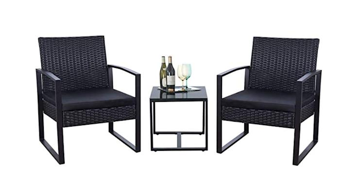 Nab this three-piece wicker set for your outdoor space.