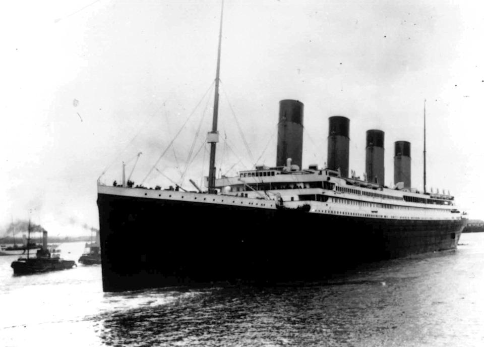 The Titanic leaves Southampton, England on her maiden voyage on 12 April 1912 (AP)