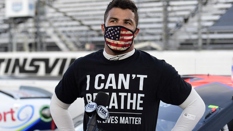 Bubba Wallace, picrtured here wearing an 'I Can't Breathe - Black Lives Matter' t-shirt.