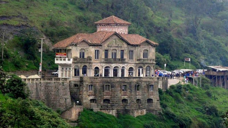 The Tequendama Falls Museum in Columbia, a large former hotel turned museum.