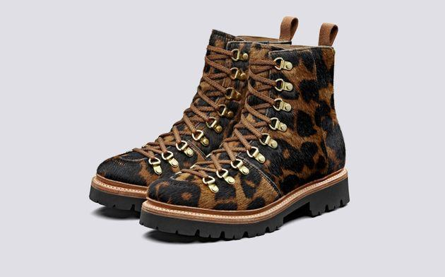 Grenson Nanette Leather Hiker Boots in Leopard, ASOS