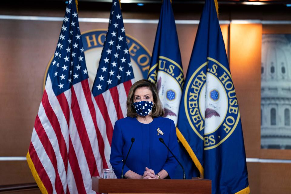 US Speaker of the House, Nancy Pelosi, Democrat of California, holds her weekly press briefing on Capitol Hill in Washington, DC, on October 22, 2020. (Photo by Alex Edelman / AFP) (Photo by ALEX EDELMAN/AFP via Getty Images)
