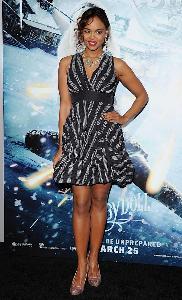 "<a href=""http://movies.yahoo.com/movie/contributor/1808806485"">Sharon Leal</a> at the Los Angeles premiere of <a href=""http://movies.yahoo.com/movie/1810133258/info"">Sucker Punch</a> on March 23, 2011."