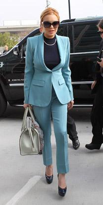 Lindsay Lohan was more demure than ever at her final probation hearing on March 29, 2012, dressed in a blue pantsuit and wearing her hair pulled back in a bun. A Los Angeles Superior Court Judge put Lohan's probation behind her, and said the actress will not have to appear in court again if she obeys all laws