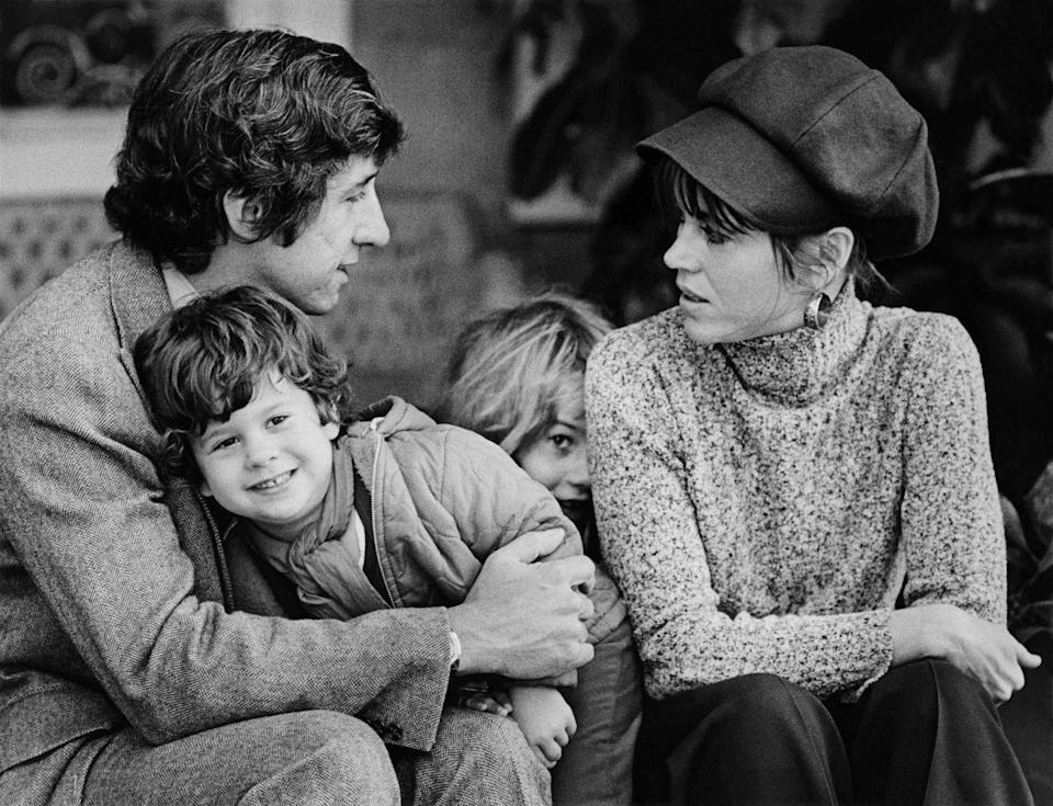 <p>Tom Hayden and his wife, Jane Fonda, at their Santa Monica home with their children, Vanessa Vadim and Troy Garity, in 1975.</p>