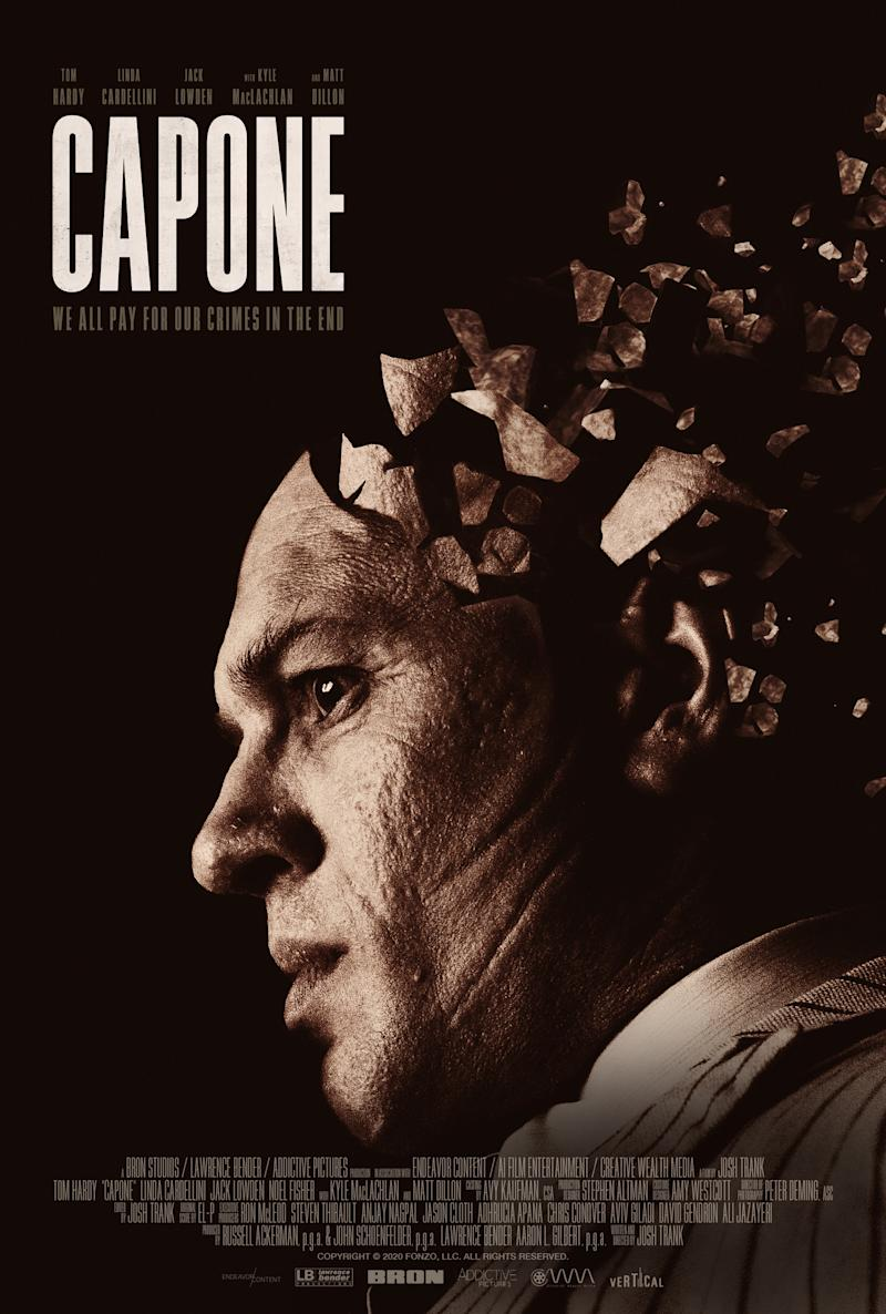 The poster for Capone featuring Tom Hardy as the Prohibition-era gangster. (Vertical Entertainment)