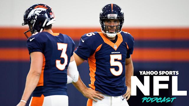 "The QB battle between <a class=""link rapid-noclick-resp"" href=""/nfl/players/31874/"" data-ylk=""slk:Drew Lock"">Drew Lock</a> and Joe Flacco is among the many training camp topics covered by Terez Paylor and Charles Robinson on the latest Yahoo Sports NFL Podcast. (Photo by Joe Amon/MediaNews Group/The Denver Post via Getty Images)"